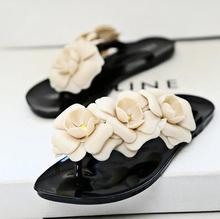 2015 Summer Slippers flower Flip Flops camellia Women Sandals Female Drag Sandals jelly sandals slippers shoes woman platform(China (Mainland))