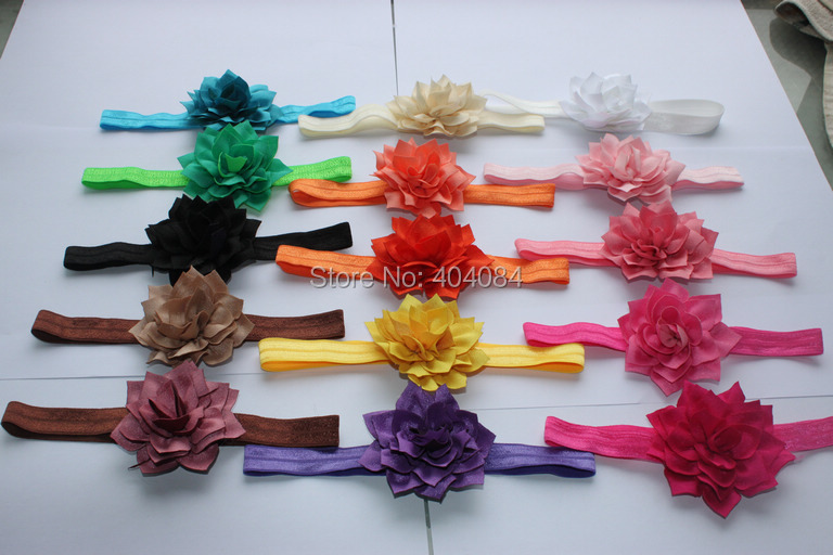 Trial order 10pcs/lot Flower Headbands infant headbands fabric flower headbands girls hair accessories 15 colors STOCK(China (Mainland))