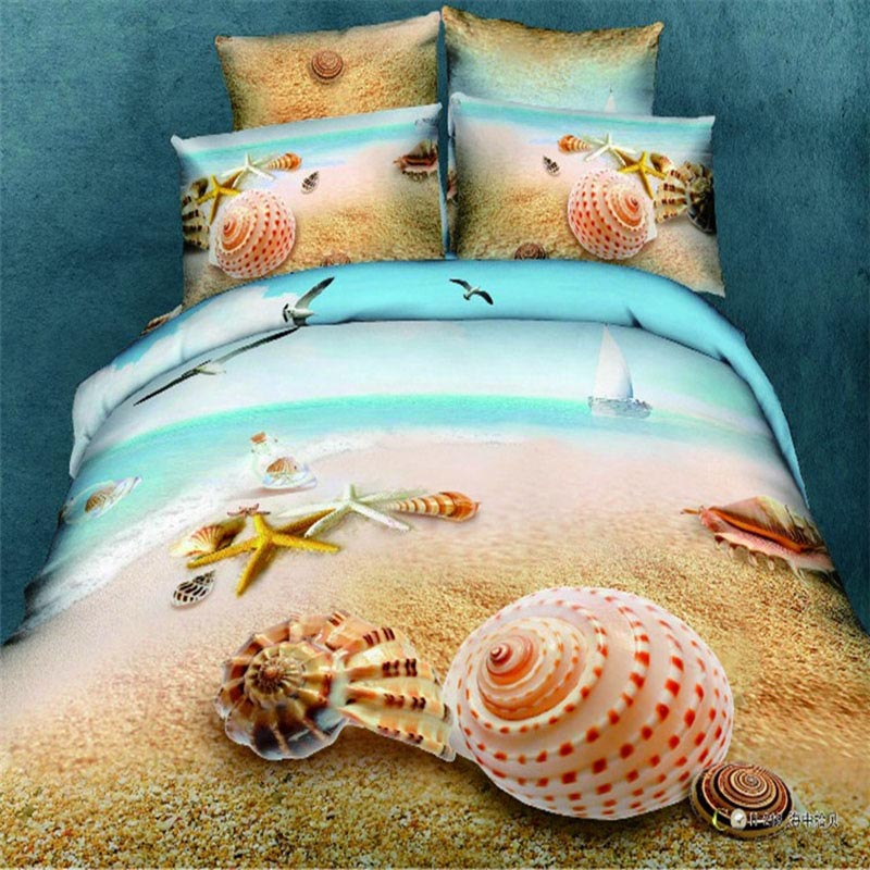 Underwater World 3d bedding set 4pc 3d Conch bed clothes 3d beach bedding cover 4pcs 3d bed set 100% cotton queen king size(China (Mainland))