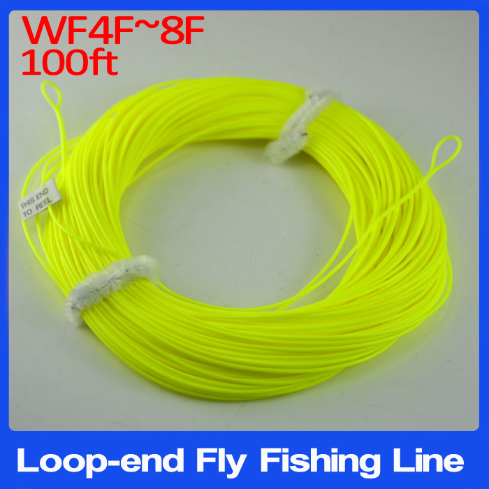 Good Quality WF4F ~ WF8F 100 feet Floating Weight Forward Fly Fishing Line with Welded Loops End ( WF5F WF6F WF7F ) Yellow Color(China (Mainland))