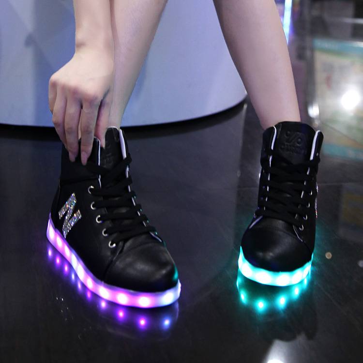 Free Shipping Women Fashion Luminous Shoes Top Quality LED Lights USB Charging Colorful Shoes Womens Casual Flash Diamond Shoes<br><br>Aliexpress
