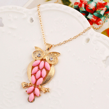 Brand Design New Fashion High quality Metal chain Pink gem owl pendant necklace statement jewelry women