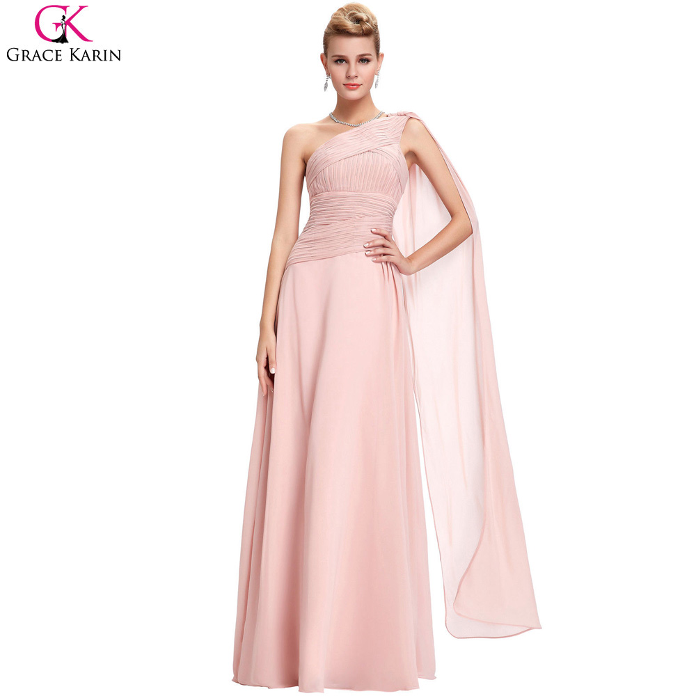 Blush Pink Bridesmaid Dresses Grace Karin One Shoulder ...