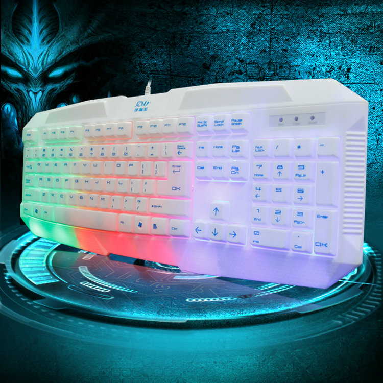 Finger king K07Q keyboard USB wired keyboard luminous rainbow keyboard colorful waterproof electronic games(China (Mainland))