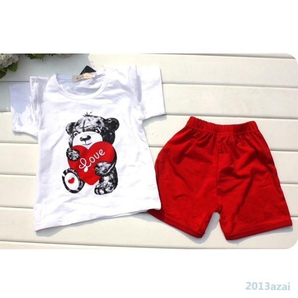 2шт baby девушка дети футболку короткие брюки Топ сердце медведь наряд одежду комплект