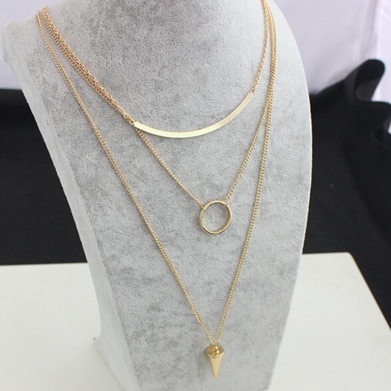 Hot Fashion Jewelry New Punk Necklace Gold Multi Layer