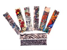8 PCS new mixed 100%Nylon elastic Fake temporary tattoo sleeve designs body Arm stockings tatoo for cool men women Free shipping(China (Mainland))