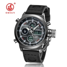 New OHSEN Men Watch Dual Time Zone Alarm LCD Sport Watch Mens Quartz Wristwatch Silicone Waterproof Dive Sports Digital Watches(China (Mainland))