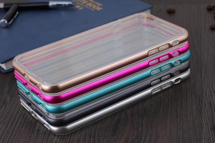 For Apple iphoneSE 5 5S 4 4S 6 6S 6plus 6Splus phone case  Metal frame + TPU soft shell protective cover phone 4.7'5.5′ bumper