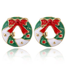 YAOLOGE Cute Enamel Decorative Earring Earrings Tree reindeer bells candy For Women Christmas Fashion party Jewelry Gift 2019(China)