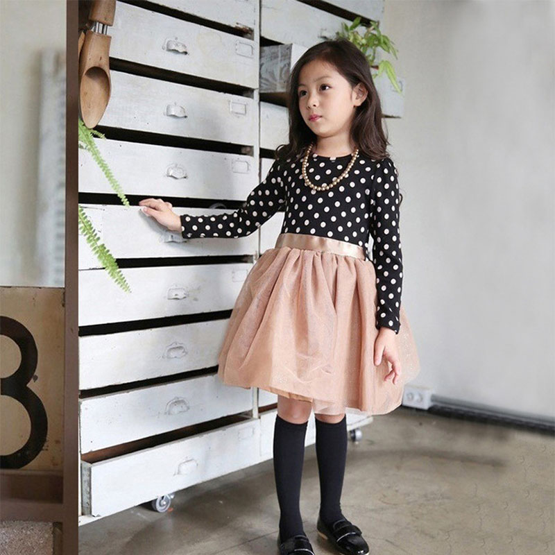 Spring 2016 New Baby Girls Dresses Girls Princess Dress For Girls Long Sleeve Polka Dots Children Clothing Kids Party Dress(China (Mainland))