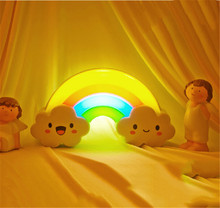 New 1pc/Lot Battery Powered LED Colorful Rainbow Wall Sticker Night Light Baby Bedside Lamp Sound Sensor Lamp(China (Mainland))