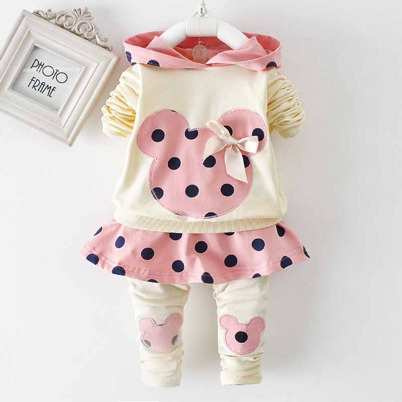 2015 new  girls autumn and winter clothes for the baby cute cartoon printed Mickey shirt + trousers cotton clothin<br><br>Aliexpress