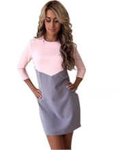 Buy Women Autumn Winter Dress Sexy Casual Patchwork Mini Dress O-Neck Three Quarter Sleeve Bodycon Dress Vestidos Plus Size GV397 for $8.73 in AliExpress store