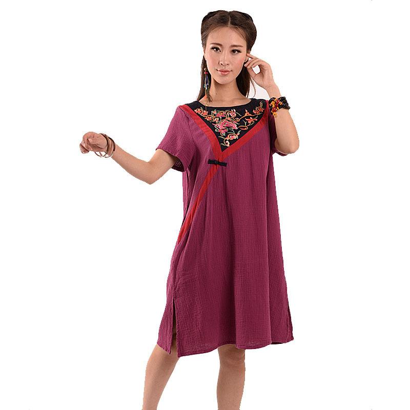 BOHOCHIC Original Design Vintage Bohemia National Women's Cotton Embroidery Dress Short Sleeve Art Clothing AG0024 Boho Chic(China (Mainland))