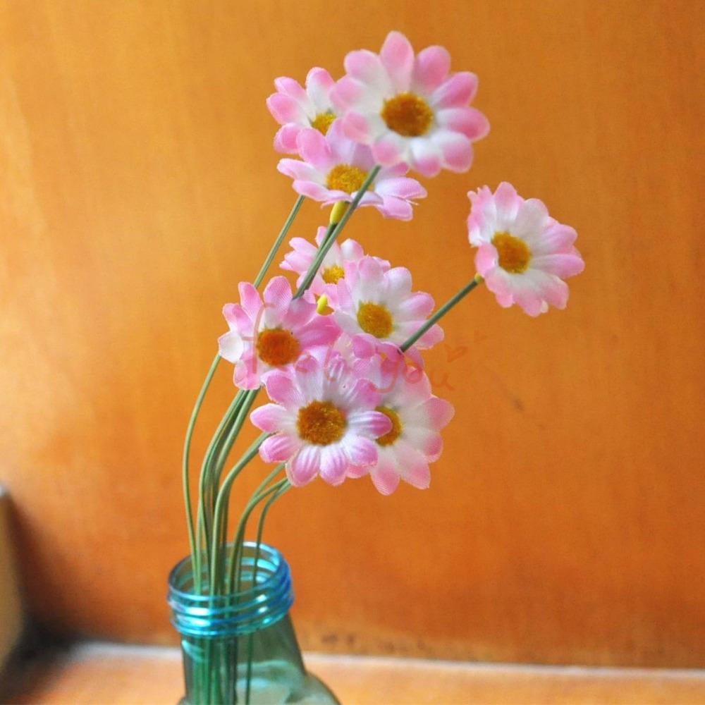 10 X White Pink Sunflower Artificial Silk Flower Heads