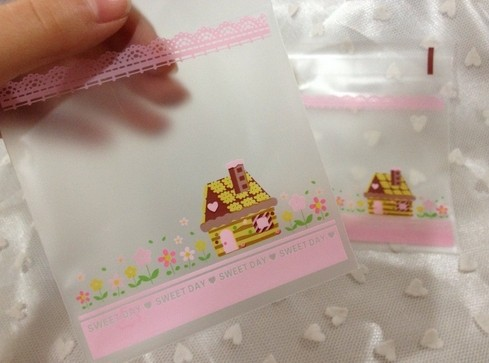 9x9cm Cute House design Gift Packing bag Cute Small Pouch Biscuit bag, Cellophane Soap Bag Party Favor Bag 300pcs/lot(Hong Kong)