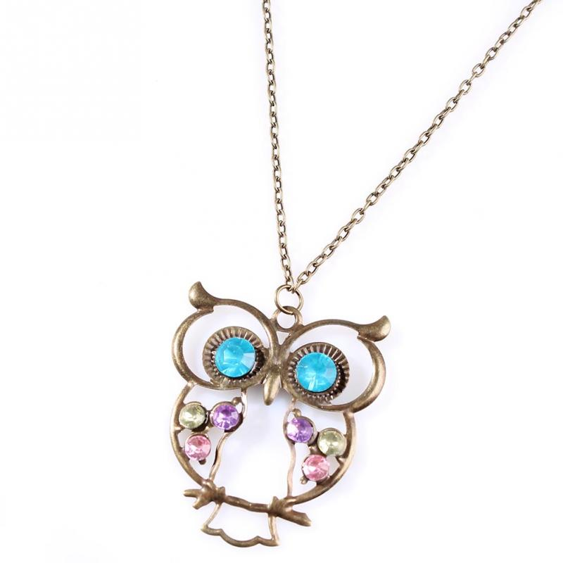 Women Lady Vintage Rhinestone OWL Long Chain Necklace Pendant Jewellery Gift(China (Mainland))