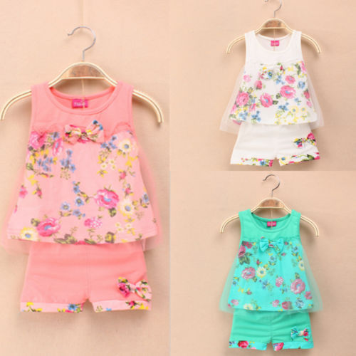 Гаджет  1-5 ages 2015 New summer girls clothing sets fashion children girls lace floral bowknot vest + shorts 2 pic clothing suits girls None Детские товары