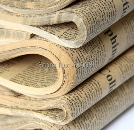 wholesale 50 pcs/lot high quality english newspaper for bouquet package zakka brown color craft paper package(China (Mainland))