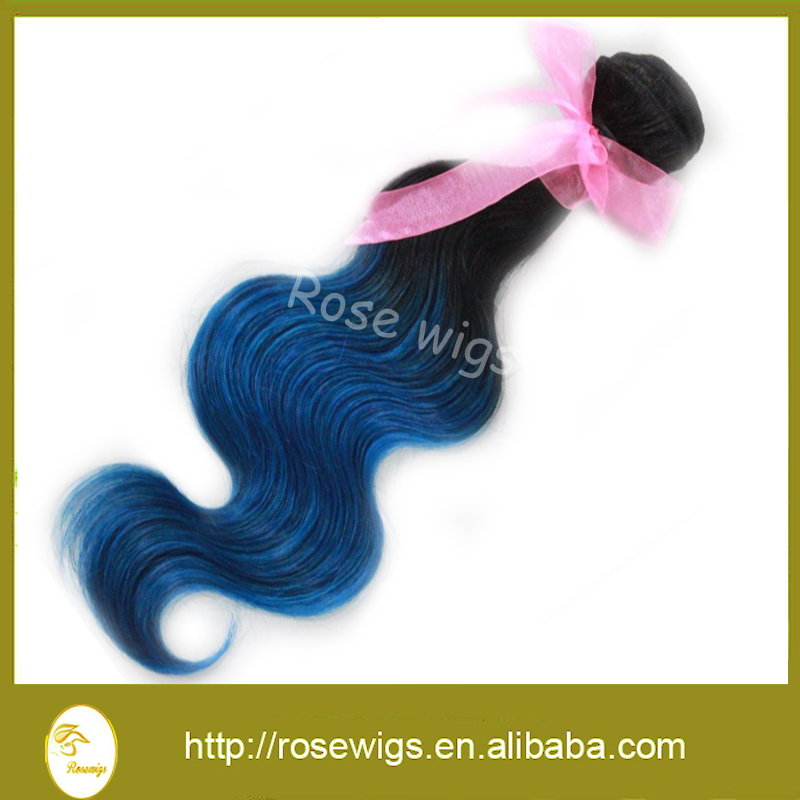 Hot Seller! Ombre Peruvian Virgin Hair Body Wave Human Hair Extensions 3 Pcs Lot two tone #1B/#Blue Support the customized!<br><br>Aliexpress