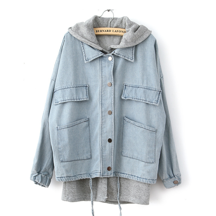 Womens denim jacket with sweatshirt sleeves – Modern fashion ...