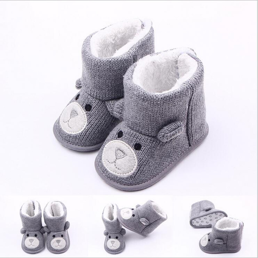 Winter Super Keep Warm Infant Toddler First Walkers Shoes Boots Booty Newborn Baby Crib Snow Knitting Cute Cartoon Bear Shoes(China (Mainland))