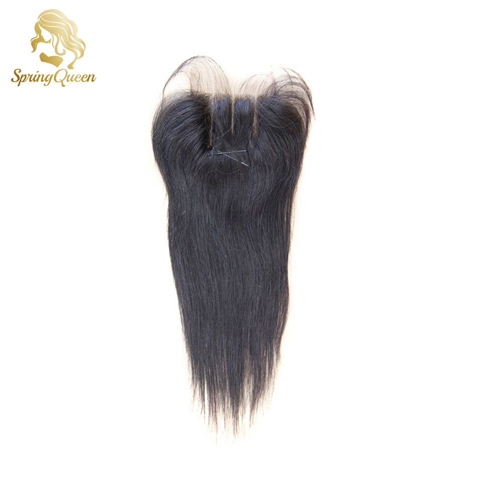 Spring Hair 6A Cheap Middle/Free/3 Part Lace Base Closure Peruvian Hair Closure Bleached Knots Straight Lace Top Closure 4*4<br><br>Aliexpress