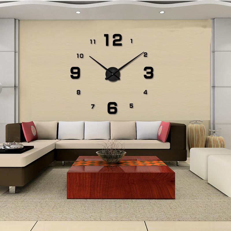 3d diy wall clock home decor quartz clocks modern and for Modern living room clocks