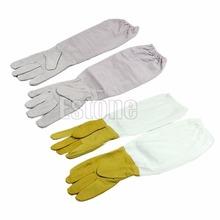 1pair Protective Vented Long Sleeves Goatskin Bee Keeping Tool Beekeeping Gloves(China (Mainland))