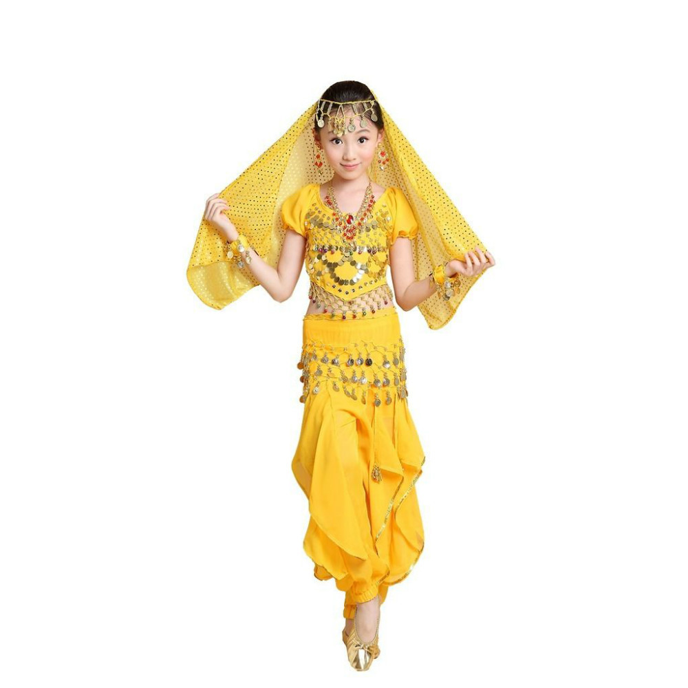 2015 Promotion Sale Lovely Kids Belly Dance Costumes Vestidos 5 PCS Top Pant Belt Veil Bracelet