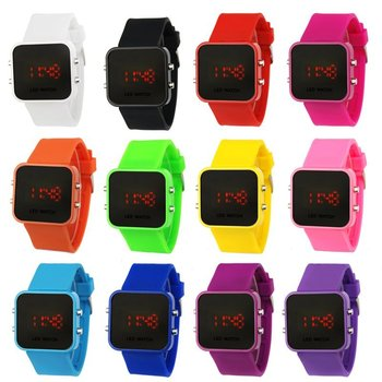 Unisex Fashion Silicone LED Mirror Watches For Both Men and Women.12 Colors Wholesale.High Quality.