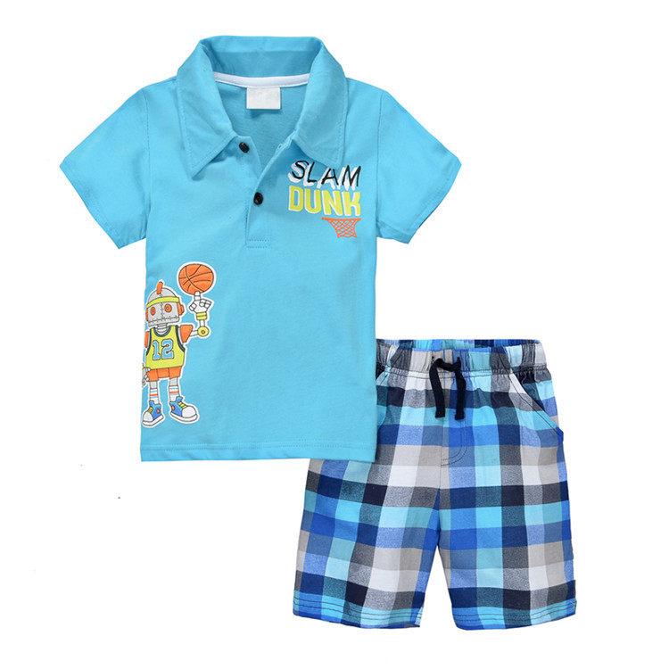 Summer polo baby boys polo kids cotton short sleeve robot for Toddler boys polo shirts