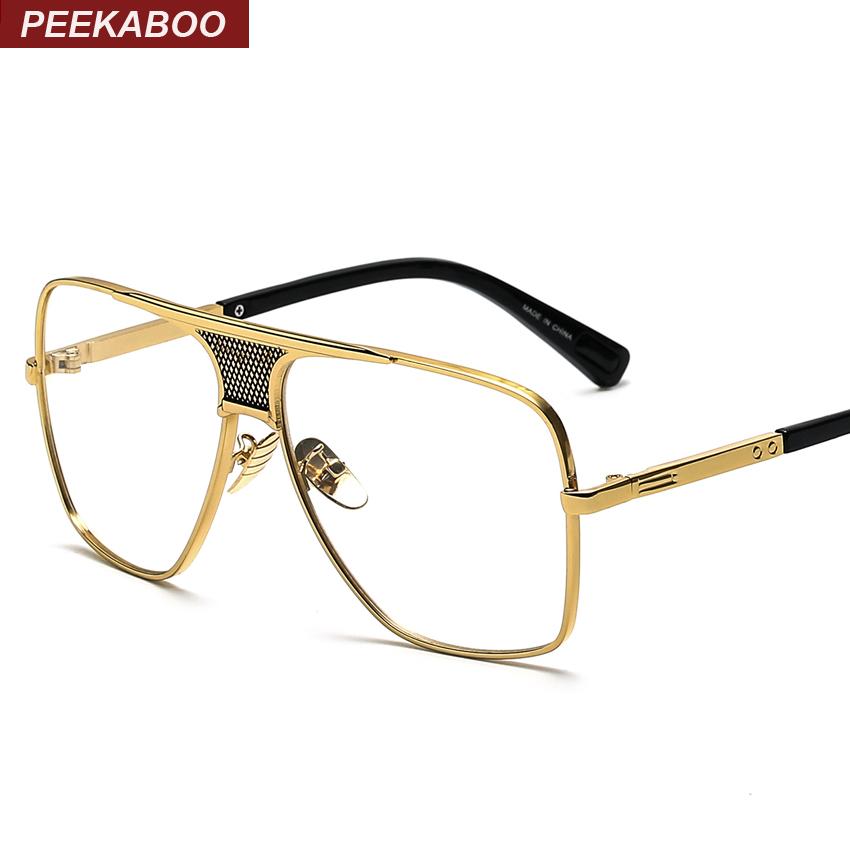 Flat top men glasses frame branded designer big square ...