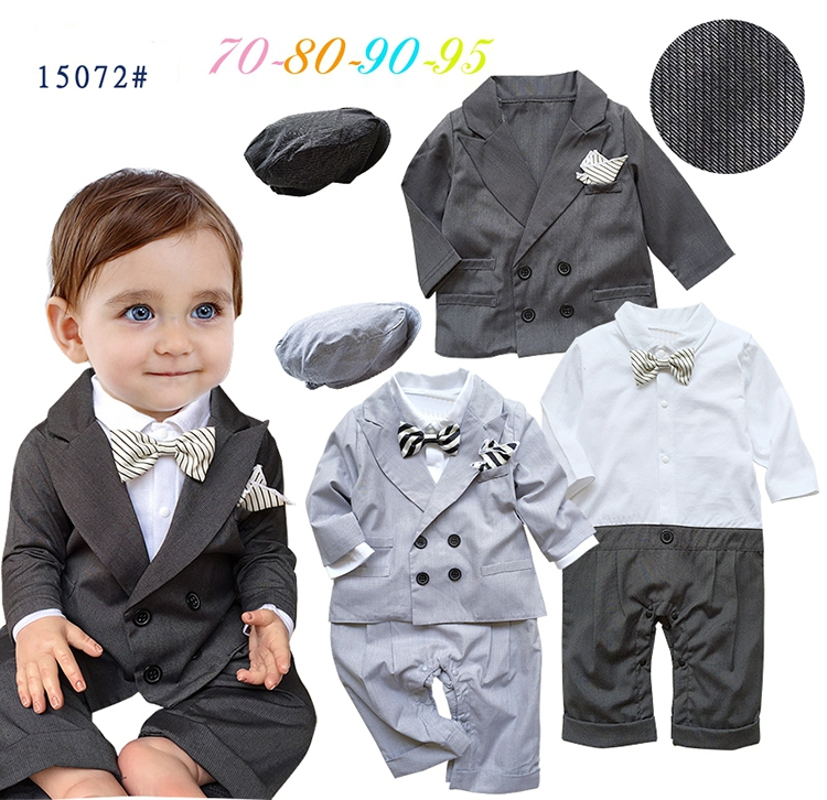 Free Shipping 4sets/lot Baby Boys Formal Romper with Vest in One,cap and Coat Set<br><br>Aliexpress