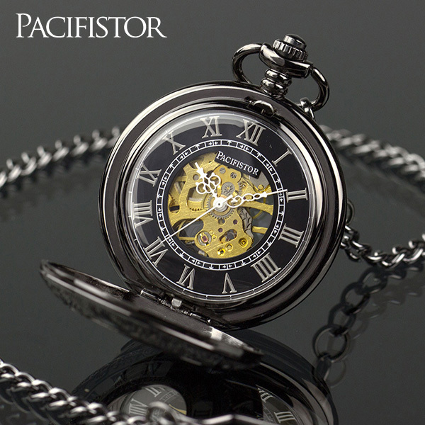 INFANTRY Vintage Roman Dials Pocket Watches Classic Steampunk Mechanical Skeleton Steel Mens Classic Chain Belt Pocket Watch(Hong Kong)