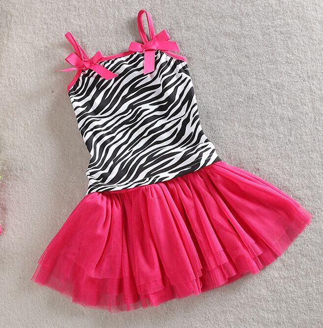New Europe and America style girls summer zebra pattern clothing set kids cotton t-shirt+skirt suits baby casual clothing suits(China (Mainland))