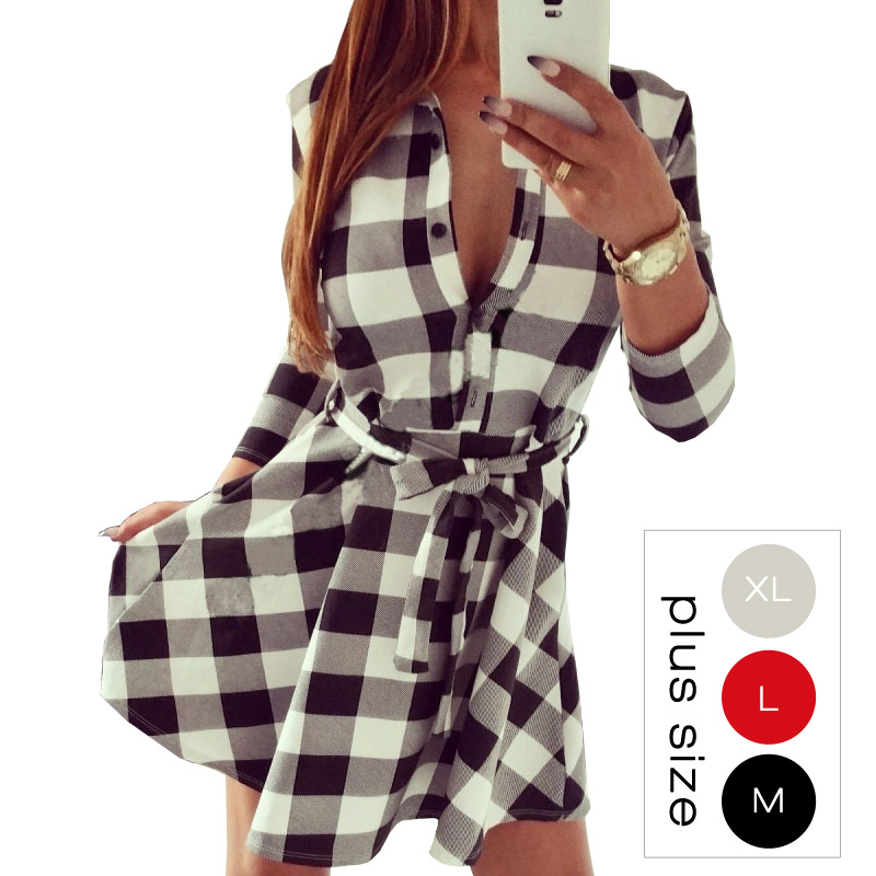 New 2016 Scottish Style Women Winter Dress Casual 3/4 Sleeve White Black Plaid Print Shirt Dresses Plus Size Long Blouses 10635