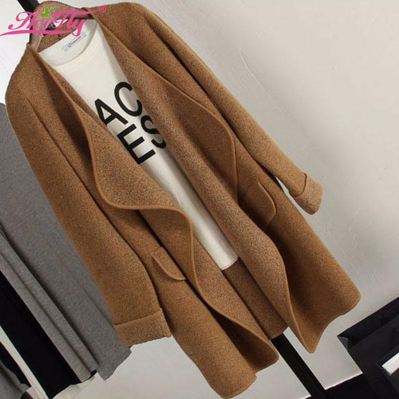 Long Cashmere Knitted Cardigan Women Casual Loose Large Lapel Sweater 2015 Autumn Winter Jacket Coat Womens Poncho WKS0026(China (Mainland))