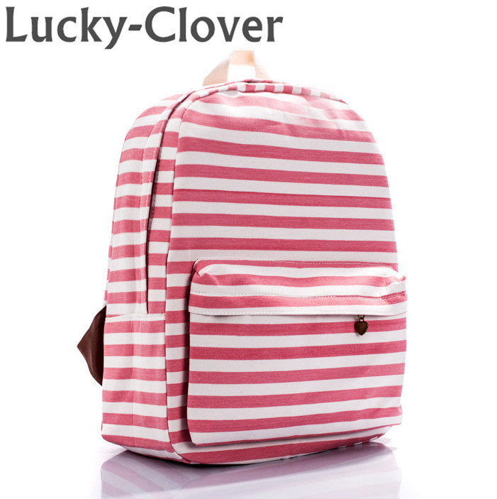 Women Classic stripes canvas printing Backpack Fresh outdoor laptop rucksack school book bags for teenager girls boys mochilas(China (Mainland))