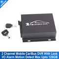 Mobile DVR 2CH Bus Vehicle Security DVR with Alarm Motion Detective 24 Hours Monitor Support SD