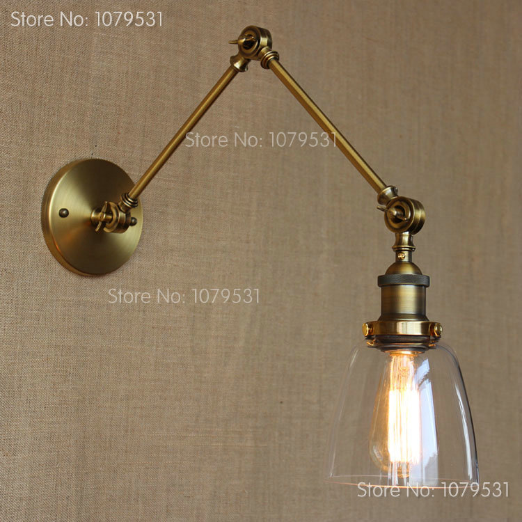 Retro Two Swing Arm Wall Lamp Glass Shade Sconces RH Bedside Light Fixture,Wall Mount Swing Arm Lamps Matching With Edison Bulbs(China (Mainland))