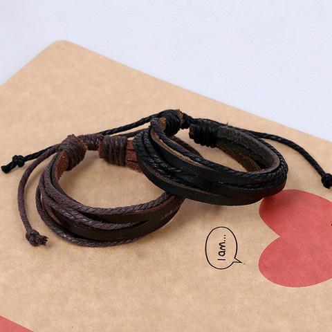Fashion men Simple Style Bracelet Hemp Rope Braided Leather Chain Unisex Cuff Bracelets Couple Bracelet for
