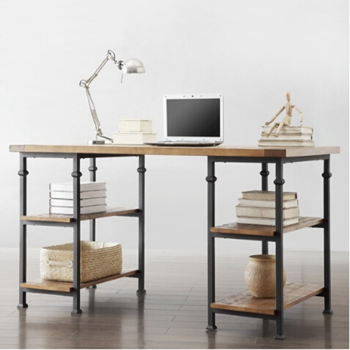Retro Designer computer tables, wrought iron wood furniture desk