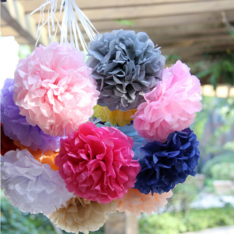 Wholesale 10cm=4 inch Tissue Paper Flowers pom poms balls lanterns Party Decor For Wedding Decoration multi color option(China (Mainland))