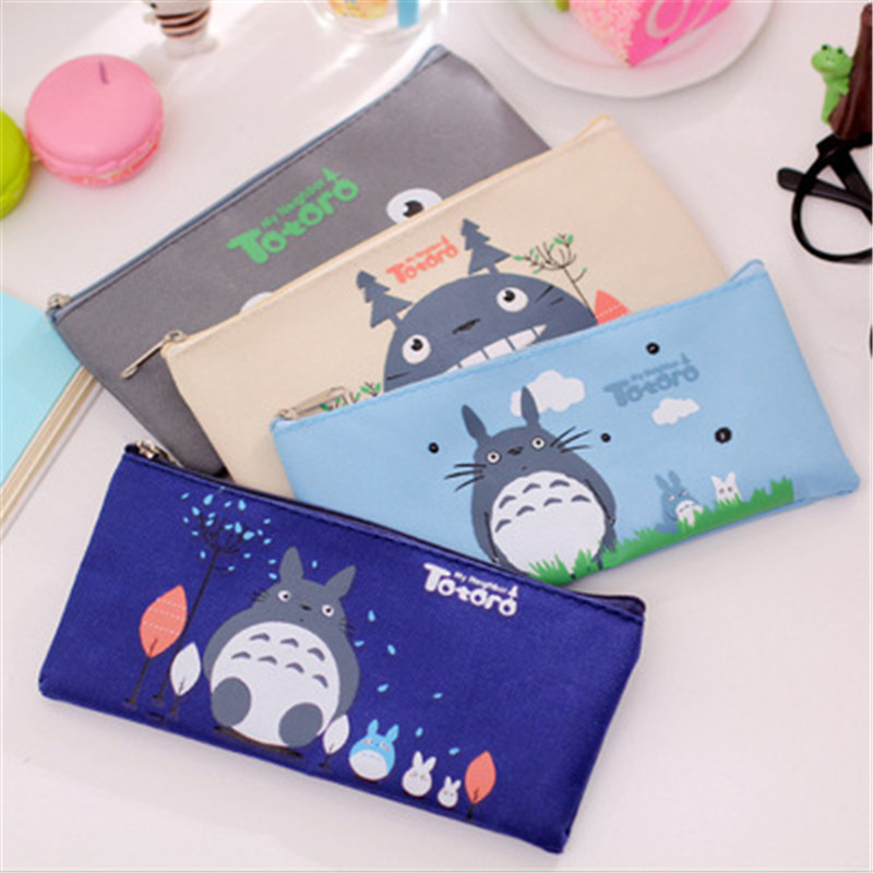 Cute Kawaii Fabric Pencil Case Lovely Cartoon Totoro Pen Bags For Kids Gift School Supplies W2.2(China (Mainland))
