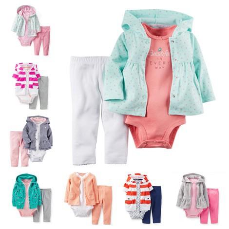 2015 Carters Baby Girl Long Sleeve Menina Cotton Hooded Cardigan + Pant + Bodysuit 3 pieces Kids Clothes Set, Freeshipping(China (Mainland))