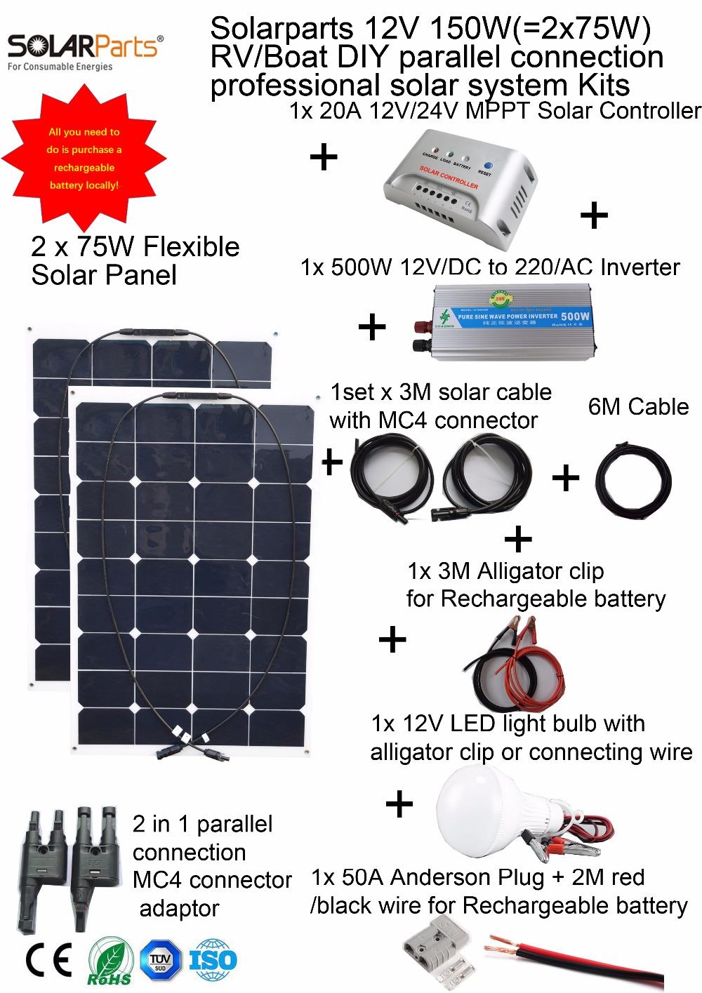 Solarparts 1x150W Professional DIY RV/Boat/Marine Kits Solar Home System 2x75W flexible solar panel MPPT controller Inverter LED(China (Mainland))