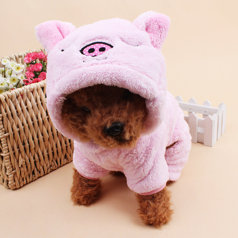 Super Thermal Coral Velvet Winter Dog Hoodie Pig & Elephant Design Hoody Coat Pet Dog Clothes Supplies Pink Blue Dropshipping(China (Mainland))