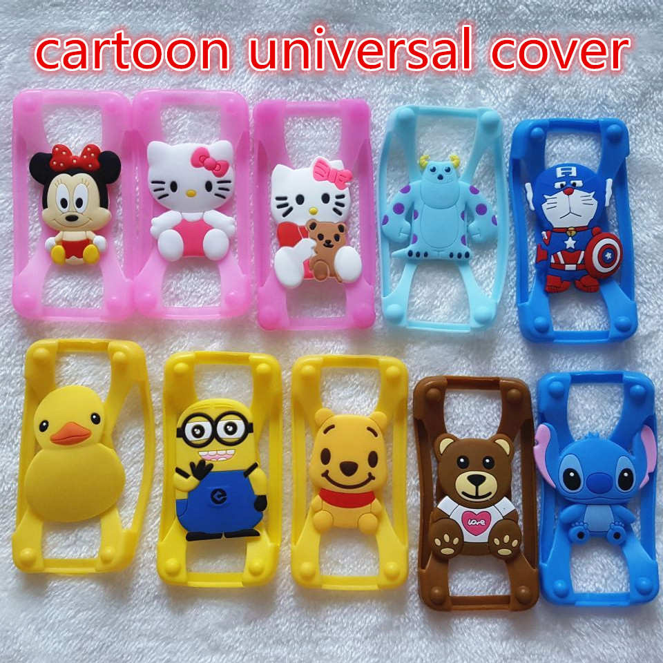 Silicone 3D Cartoon Stitch Minnie kitty Universal Phone Frame Bumper For Iphone4S 5S 6 Case For Samsung Galaxy S5 S6/6'screen(China (Mainland))
